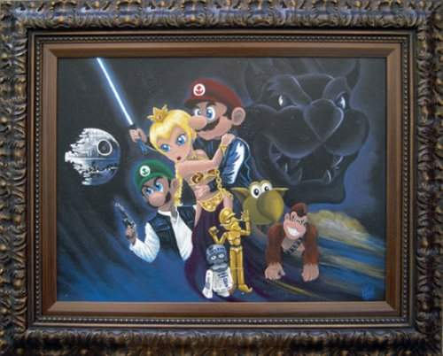 super mario star wars painting