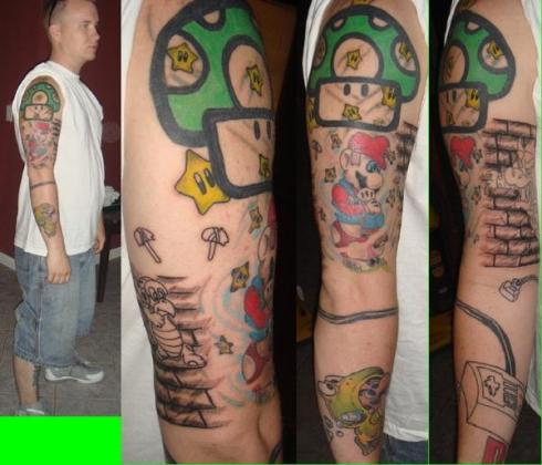 tattoos sleeves. Super Mario Tattoo Sleeve,