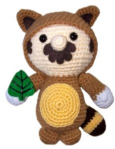 super mario brothers 3 tanooki suit crochet doll