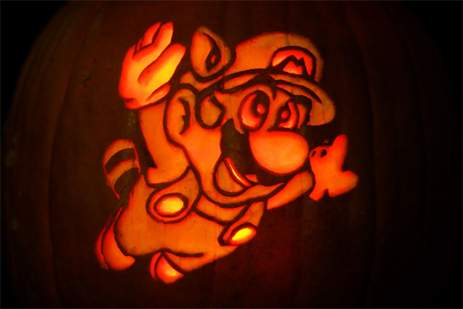 super mario brothers tanooki suit pumpkin