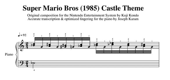 Mario Sheet Music Castle Theme