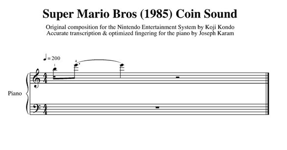Mario Sheet Music Coin Sound