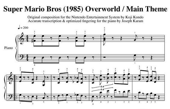 Mario Sheet Music Overworld Main Theme