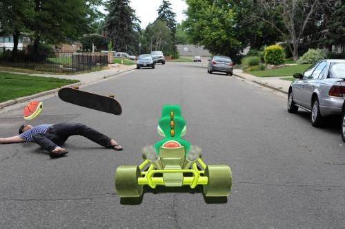 Mario Kart stop-motion animation 3D chalk image